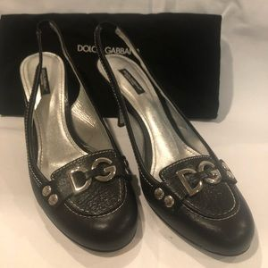 Dolce and Gabbana black leather heels